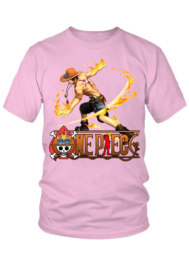 Áo thun nữ One Piece Ace Mẫu 7 (Hồng)