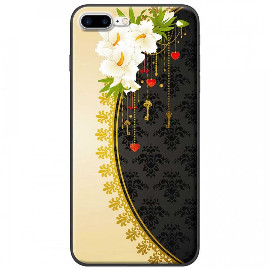 Ốp lưng dành cho iPhone 7 Plus mẫu Hoa trắng vàng đen