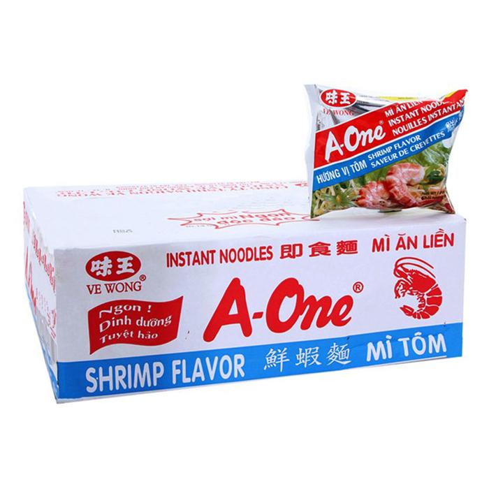 Thùng 30 Gói Mì A-One Hương Vị Tôm (85g/ Gói)