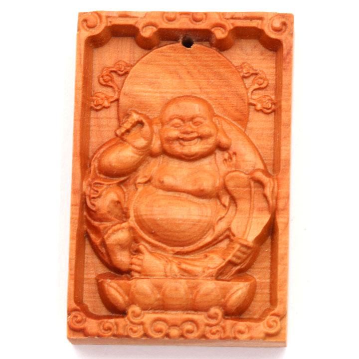Mặt Gỗ Hoàng Đàn Khắc Hình Phật Di Lặc MG22