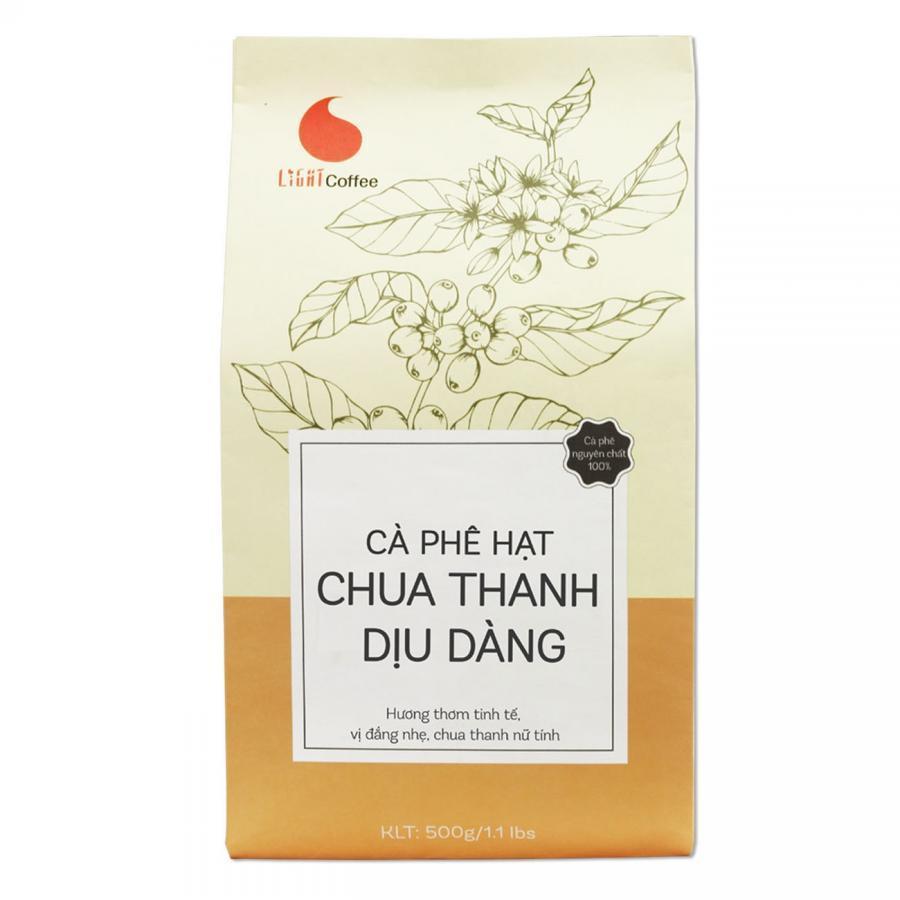Cà Phê Hạt Rang Nguyên Chất 100% Light Coffee Chua Thanh Dịu Dàng (500g)