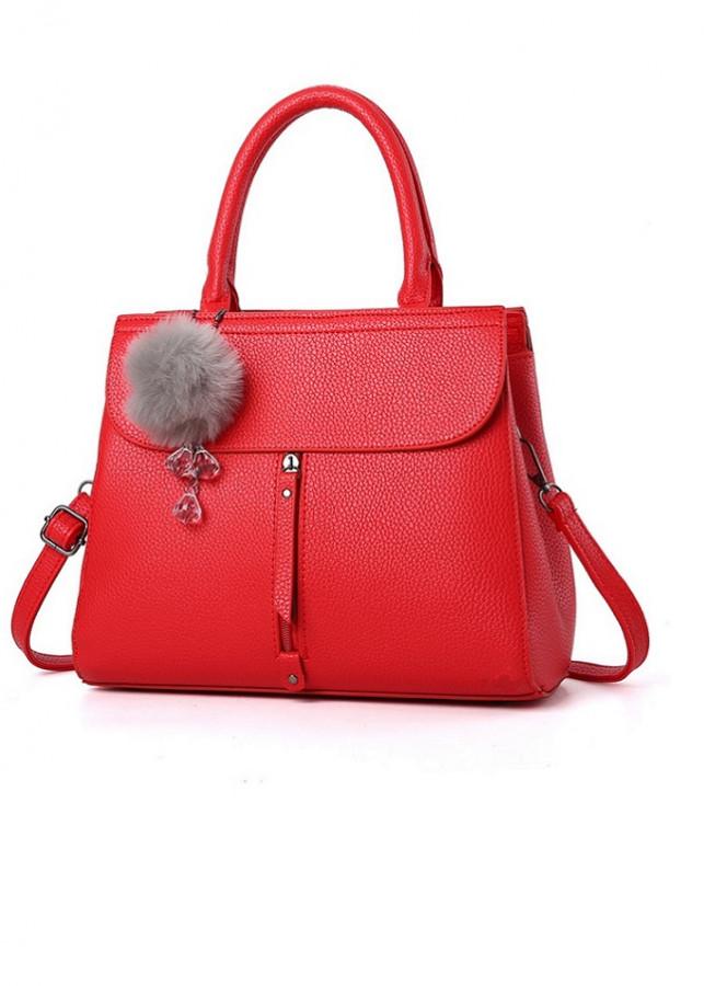 Túi xách thời trang nữ Công Sở cao cấp kèm Bông (Màu đỏ)