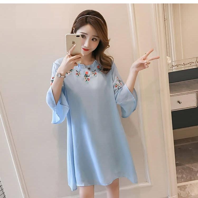 Đầm bầu voan xanh dễ thương TN176