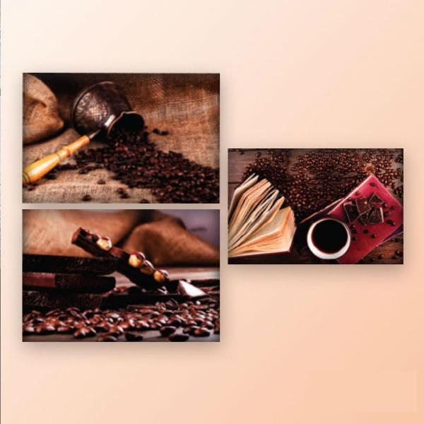 Bộ 3 Tranh Canvas Viền Composite Treo Tường Quán Cà Phê Coffee And Chocolate W013