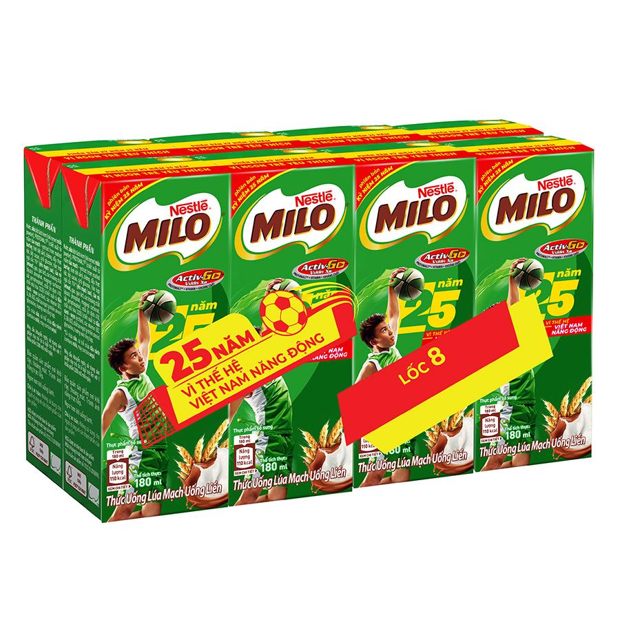 Lốc 8 Hộp Sữa Nestle Milo Uống Liền Phiên Bản Kỷ Niệm 25 Năm (180ml / Hộp) - 1589026 , 8934804033259 , 62_10574415 , 54000 , Loc-8-Hop-Sua-Nestle-Milo-Uong-Lien-Phien-Ban-Ky-Niem-25-Nam-180ml--Hop-62_10574415 , tiki.vn , Lốc 8 Hộp Sữa Nestle Milo Uống Liền Phiên Bản Kỷ Niệm 25 Năm (180ml / Hộp)