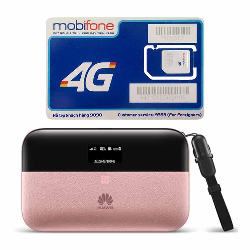 Bộ phát wifi Huawei E5885 4G LTE 300Mbps + Sim 4G Mobifone Khuyến Mãi 60GB /Tháng
