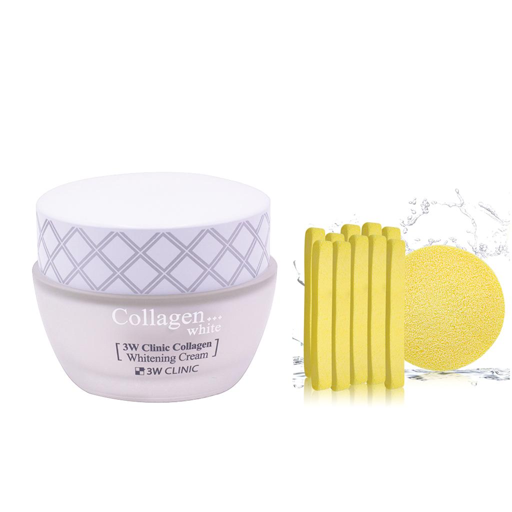 Kem Dưỡng Ẩm Trắng Da Hàn Quốc Cao Cấp Whitening Cream 3W Clinic Collagen (60ml) + Tặng Bông Bọt Biển Massage Mặt Cao Cấp... - 15611715 , 2088847813241 , 62_26030370 , 185000 , Kem-Duong-Am-Trang-Da-Han-Quoc-Cao-Cap-Whitening-Cream-3W-Clinic-Collagen-60ml-Tang-Bong-Bot-Bien-Massage-Mat-Cao-Cap...-62_26030370 , tiki.vn , Kem Dưỡng Ẩm Trắng Da Hàn Quốc Cao Cấp Whitening Cream
