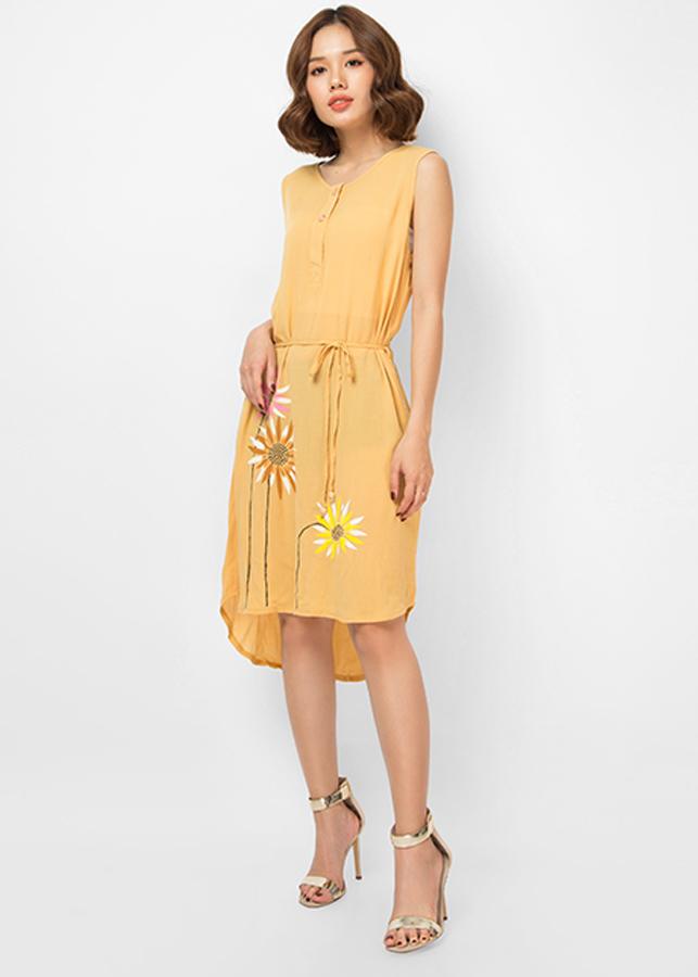 Đầm An Thủy Sát Nách Vẽ Hoa Màu Vàng S4