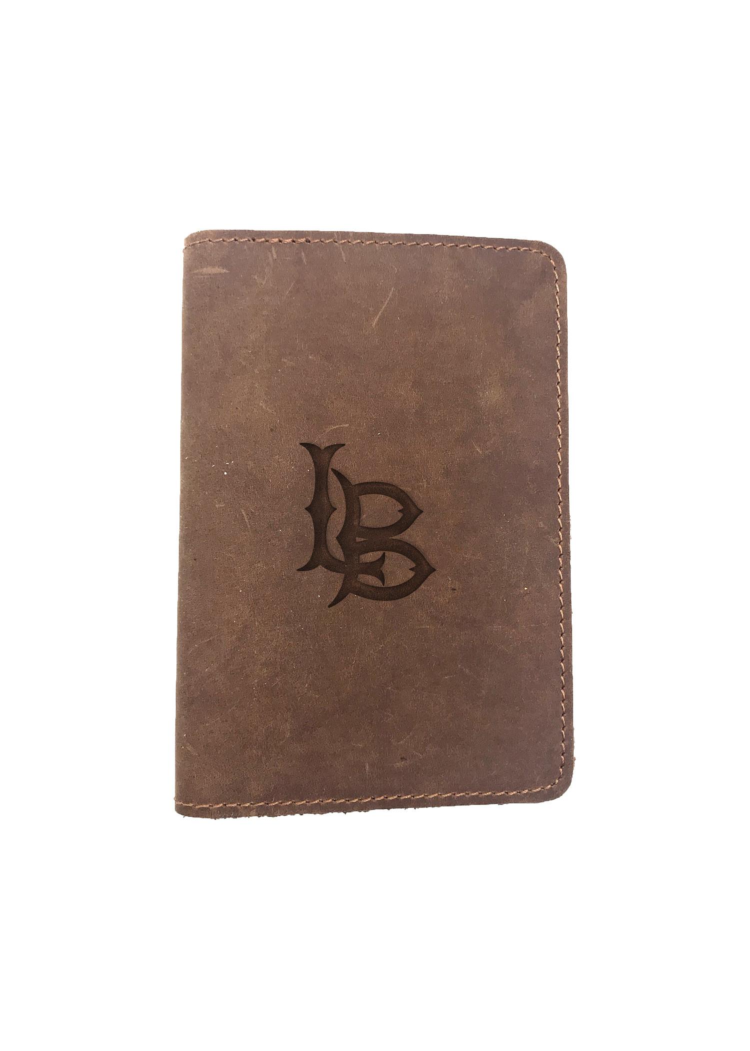 Passport Cover Bao Da Hộ Chiếu Da Sáp Khắc Hình Chữ LONG BEACHH (BROWN)