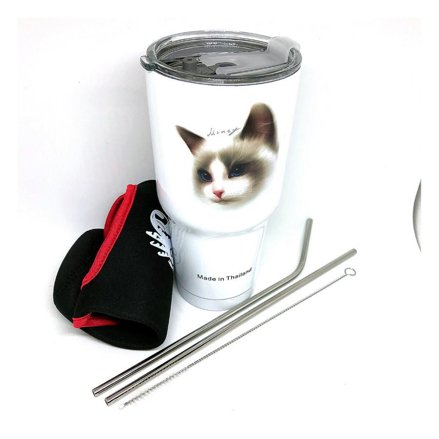 Ly Giữ Nhiệt Mèo 3D Thái Lan Cao Cấp, Chất Liệu Inox 304 Nắp Chống Trào Tiện Lợi + Tặng Kèm Full Bộ Phụ Kiện Ống...
