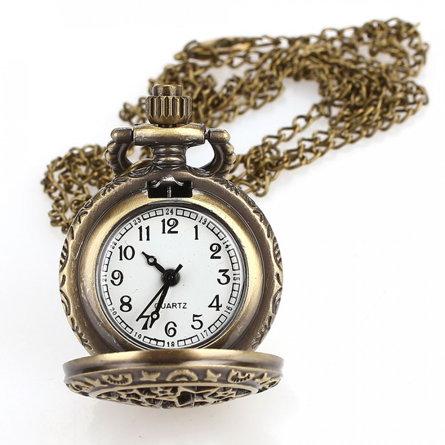 Fob Pocket Watch Pocket Watch Vintage Star Hollow Bronze Sweater Chain