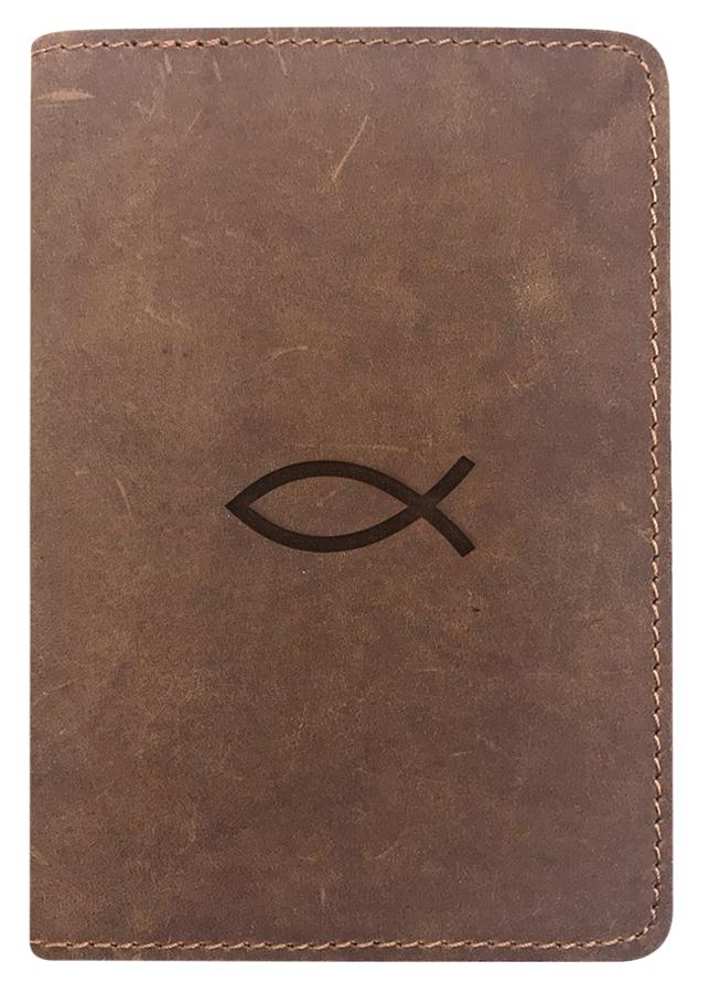 Bao Da Hộ Chiếu Passport Cover Da Sáp Khắc Hình Cá Jesus - Màu Nâu