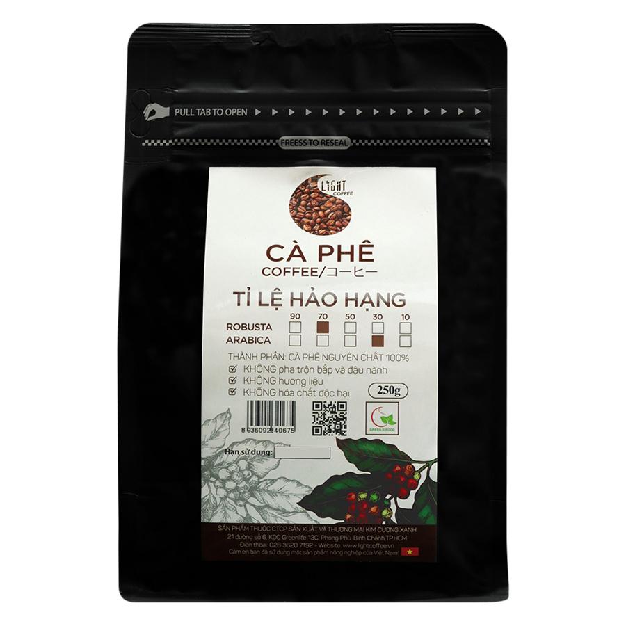 Cà Phê Hạt Nguyên Chất Tỉ Lệ Hảo Hạng 70% Robusta Và 30% Arabica Light Coffee 7R3AHH250 (250g / Gói)
