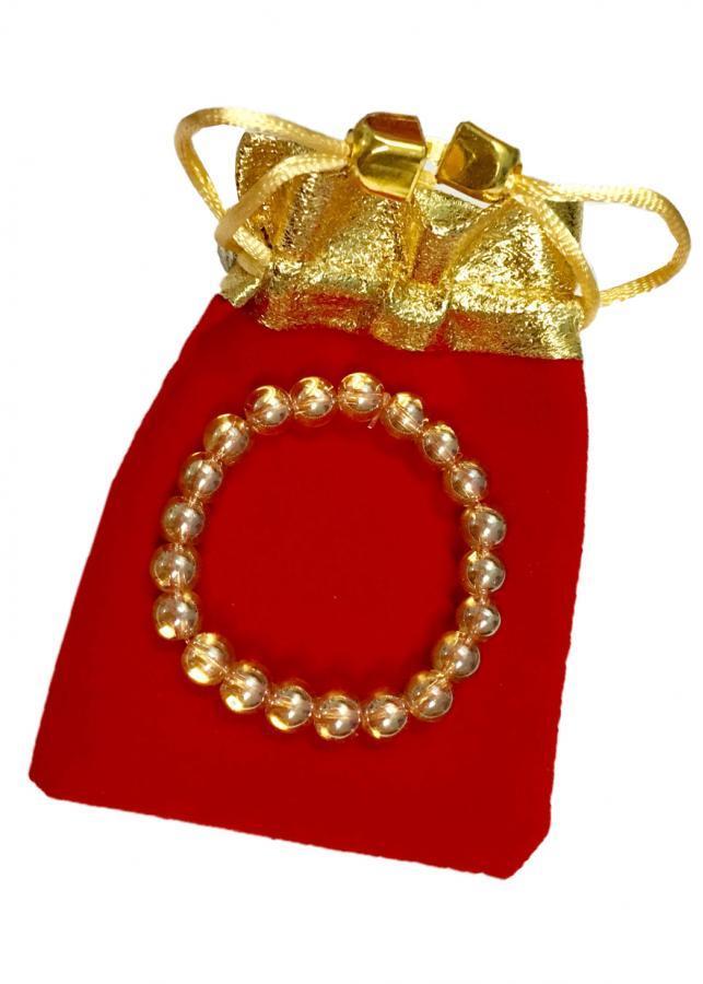 Vòng tay đá thạch anh vàng óng may mắn TAVO01 (cỡ hạt 8li, có kèm túi nhung cao cấp)