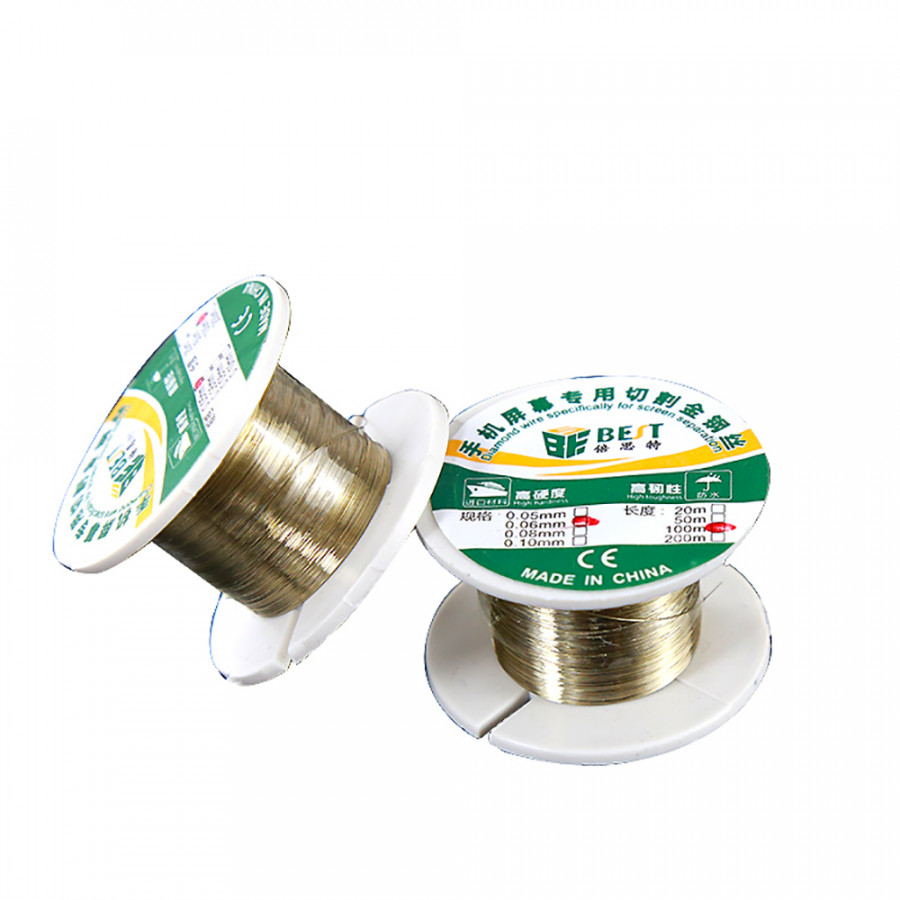 Best 052 Alloy Wire Gold Wire Cutting Line 100M Cutting Wire Line LCD Display Screen Separator Repair For Iphone (0.06mm)