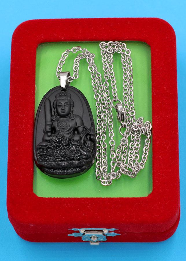 Vòng cổ Văn Thù Bồ Tát thạch anh đen 3.6 cm DITTEB3 - Hộ mệnh người tuổi Mão - Đem lại bình an, thuận lợi trong...