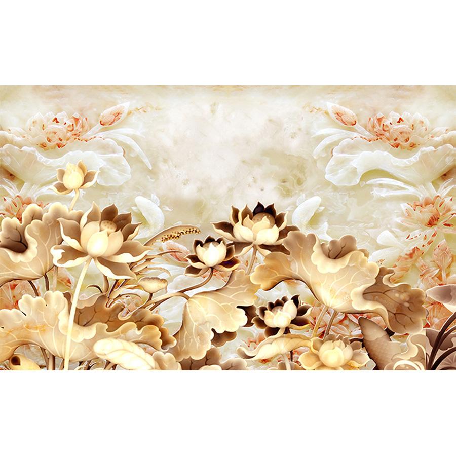 Tranh dán tường 3d | Tranh dán tường phong thủy hoa sen cá chép 3d 111