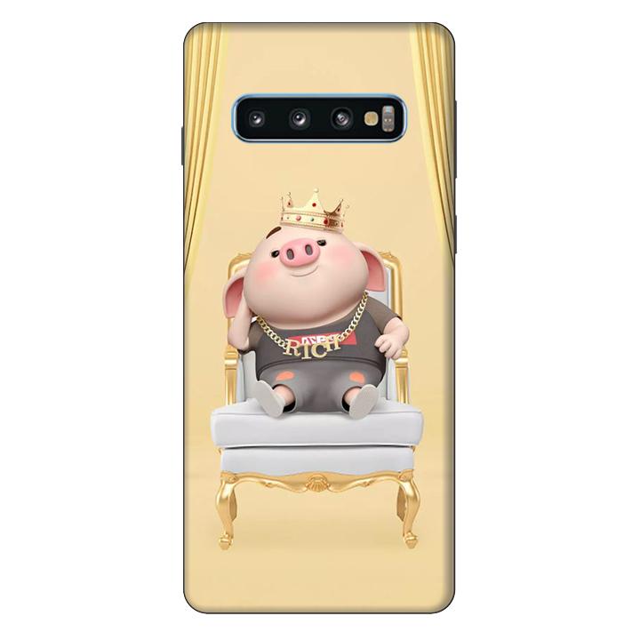 Ốp lưng nhựa cứng nhám dành cho Samsung Galaxy S10 in hình Heo Quý Tộc