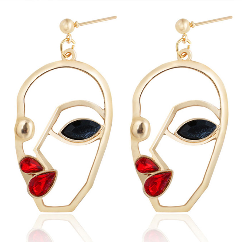 Earrings Face Mask Earrings Abstract Gifts Accessories Ear Nails Metal Hollow Punk Jewelry Ear Cuff Women Lady