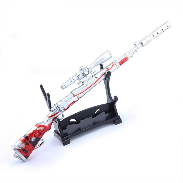Móc khóa mô hình Game PUBG - K98 đỏ máu + giá đỡ mô hình - 18cm