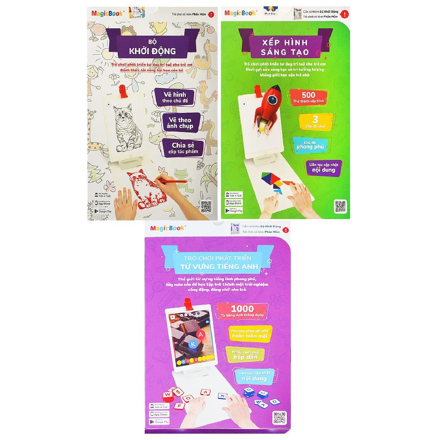 Combo Magicbook L-Box3: Bộ Vẽ Hình + Bộ Tiếng Anh + Bộ Xếp Hình Sáng Tạo