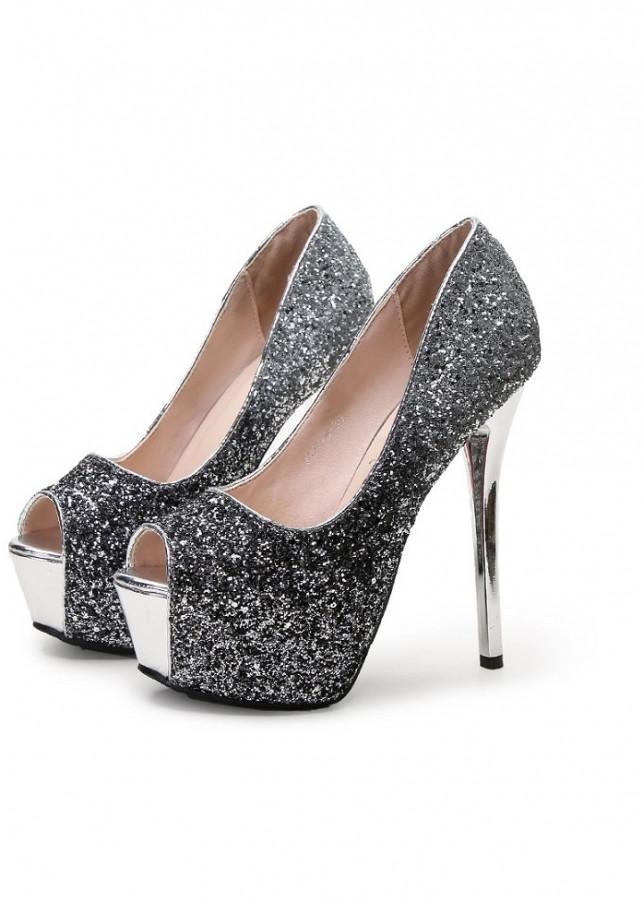 Giày cao gót 12 phân hở mũi đính đá sang chảnh GCG02