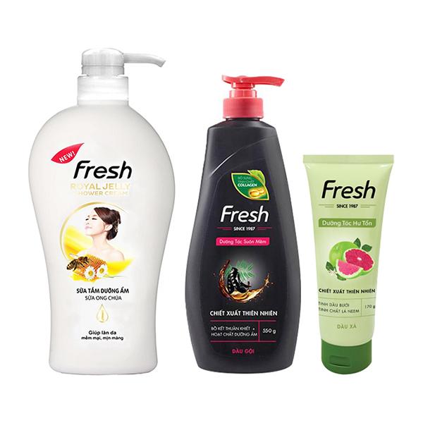 Bộ sản phẩm chăm sóc cơ thể toàn diện Fresh (Dầu gội Bồ kết dưỡng tóc 550g + Dầu xả Tinh Dầu Bưởi 170g +...