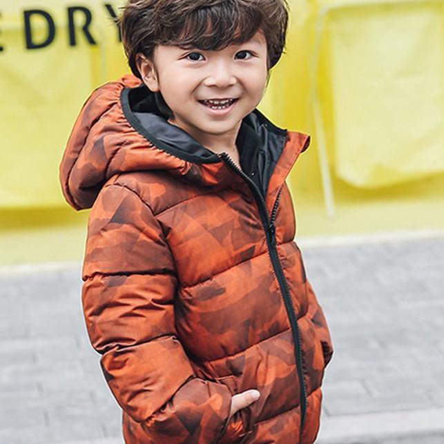 Áo khoác bé trai lót lông cực ấm