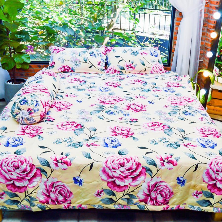 Bộ sản phẩm 5 món , đặc biệt chăn gối chần gòn vải cotton hoa P28
