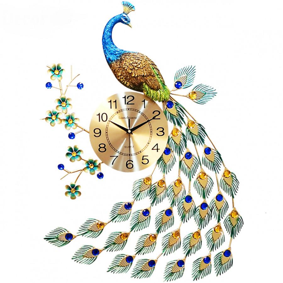 Đồng hồ con công trang trí tường thủ công tinh xảo Decor 09