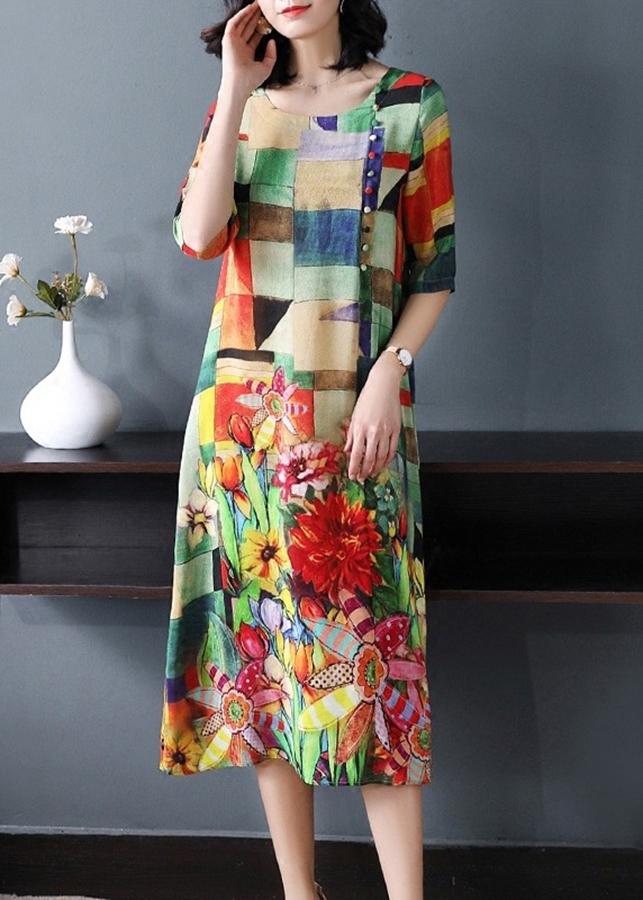 Đầm Suông Họa Tiết Cao Cấp 3D 2D3184