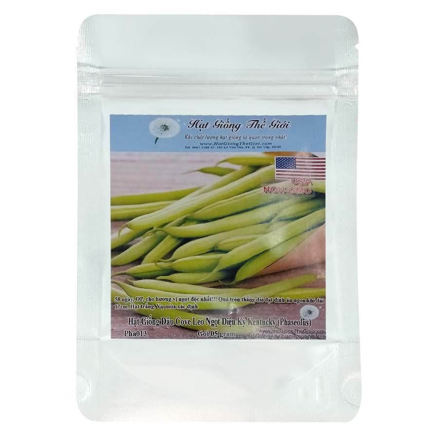 Hạt Giống Đậu Cove Leo Ngọt Diệu Kỳ Kentucky - Phaseolus vulgaris (5g)