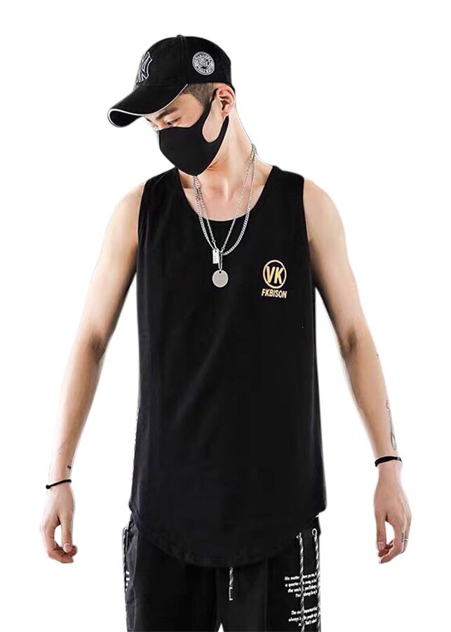 áo thun nam ba lỗ cao cấp đen logo V/K
