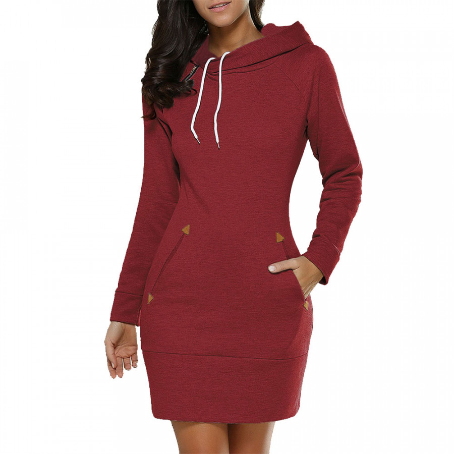 Fashion Women Bodycon Long Hoodie Mini Dress Pockets Sweater Coat Tops