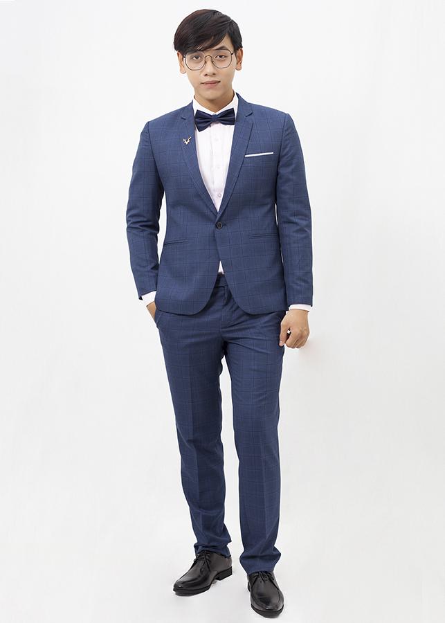 Bộ Suit xanh đậm caro T9166