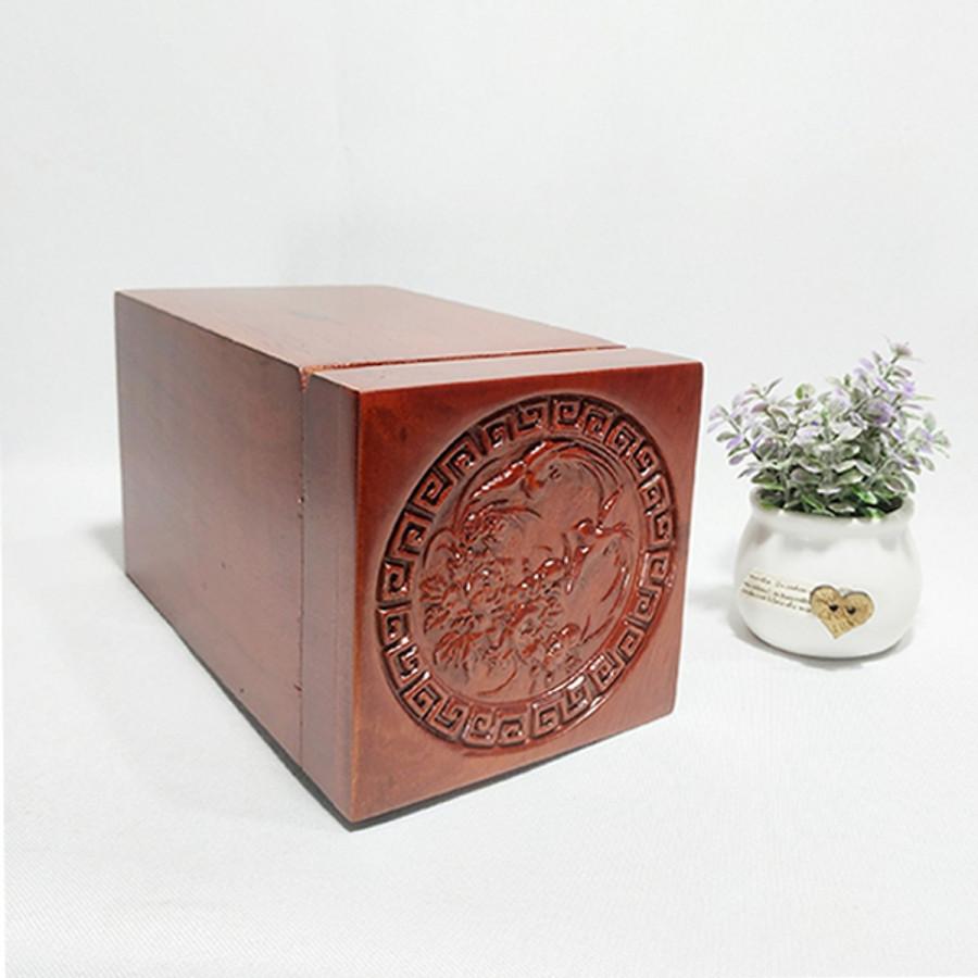 Hộp đựng trà gỗ hương cao cấp trạm khắc chim phượng hoàng tinh xảo WINS WOOD