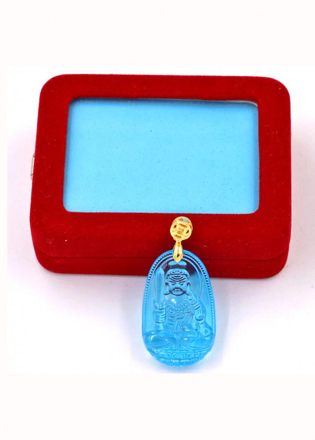 Mặt phật Bất Động Minh Vương thủy tinh xanh lam 3.6cm kèm hộp nhung