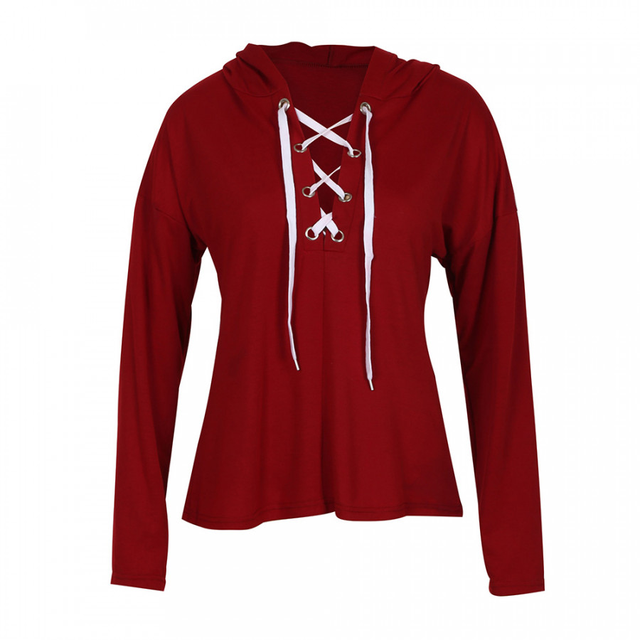 Fashion Women Casual Deep V Neck Lace Up Hoodie Sweater Sports Pullover Tops