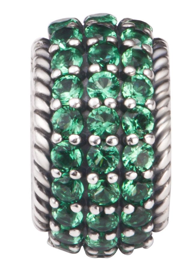 Hạt charm DIY PNJSilver hình trụ đính đá màu xanh ZT00A000003-BO