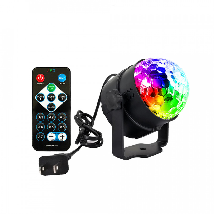 6 Colors LED Party Light Sound Activated Lamp Mini Magic Disco Ball Projecting Lamp with Remote Control for Stage Home