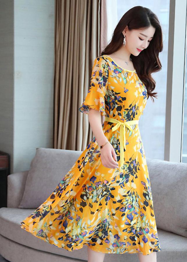 Váy Hoa Vàng Tiểu Thư Cổ Tròn Ôm Eo New4all VH3060 - Freesize Cho người dưới 50Kg