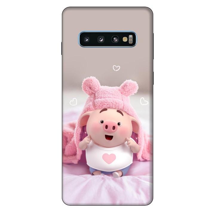 Ốp Lưng Nhựa Cứng Nhám Dành Cho Samsung Galaxy S10 In Hình Heo Dễ Thương