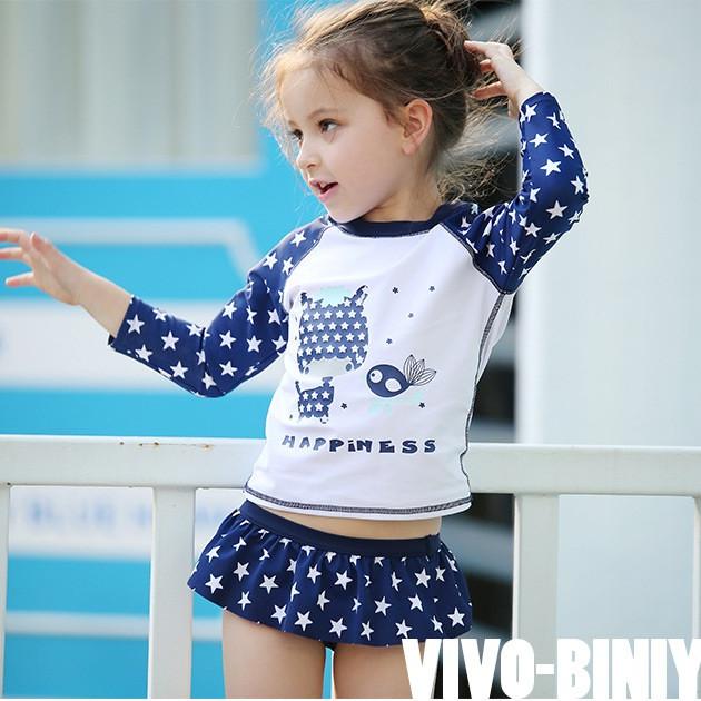 Bộ bơi Vivo xanh sao dài rời chân váy bé gái từ 2 đến 10 tuổi