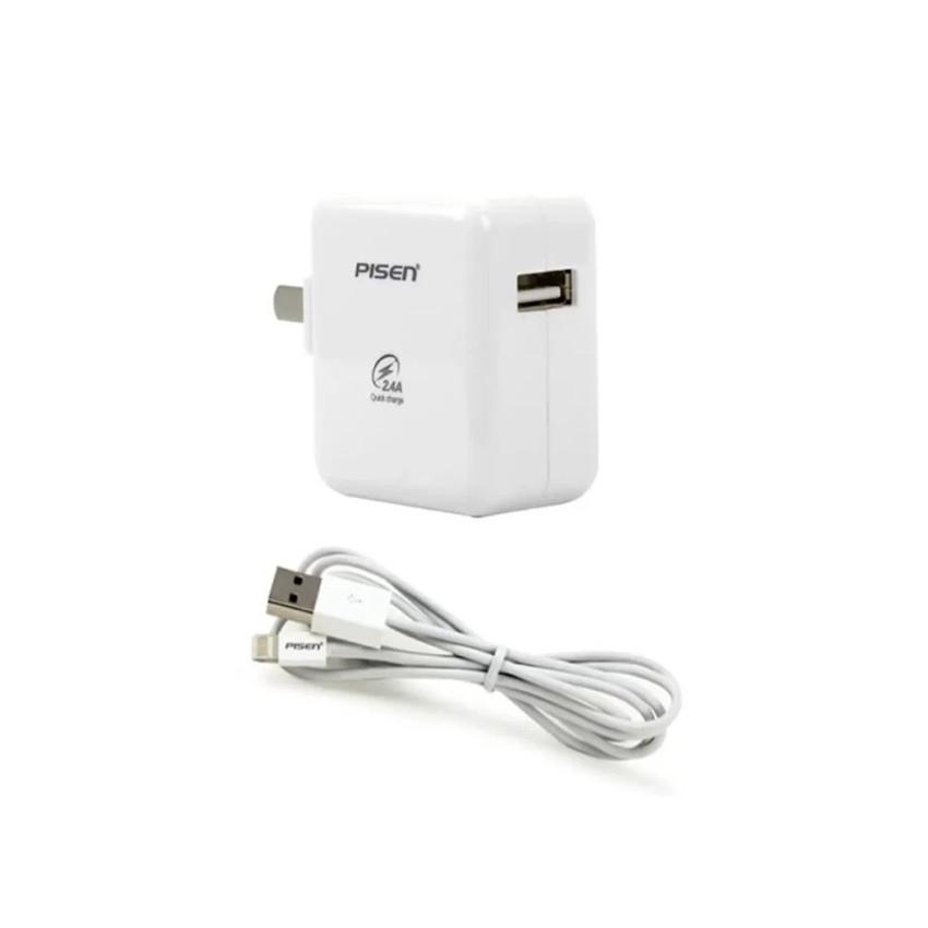 Bộ cáp và adapter sạc dành cho điện thoại iPhone 5, 5s, 6 Pisen 2A