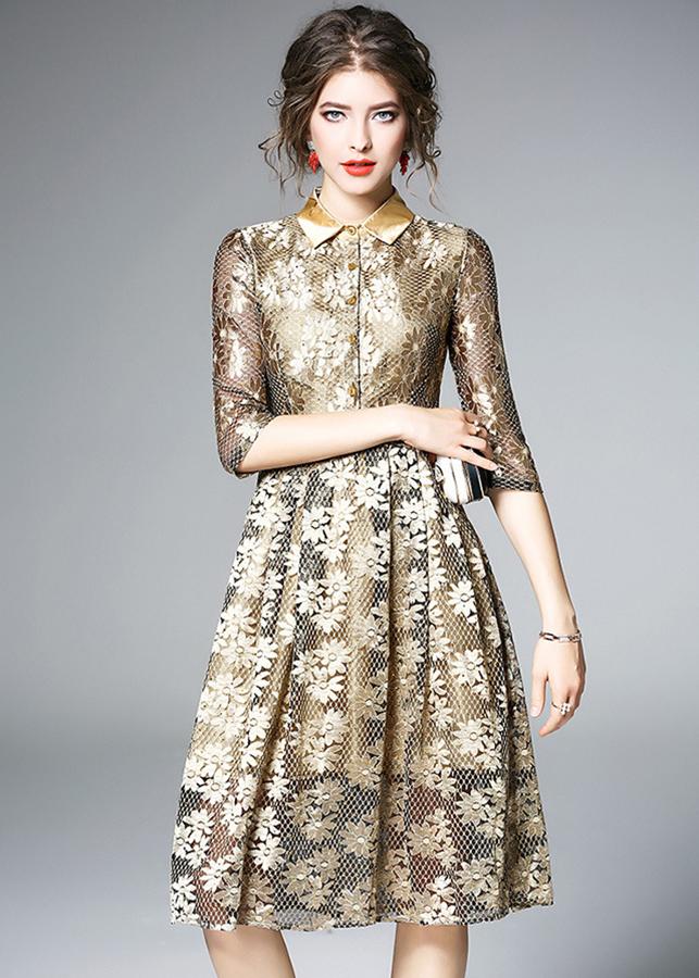 Đầm xòe ren dự tiệc cao cấp kiểu đầm xòe công chúa ren hoa lấp lánh GOTI0922335