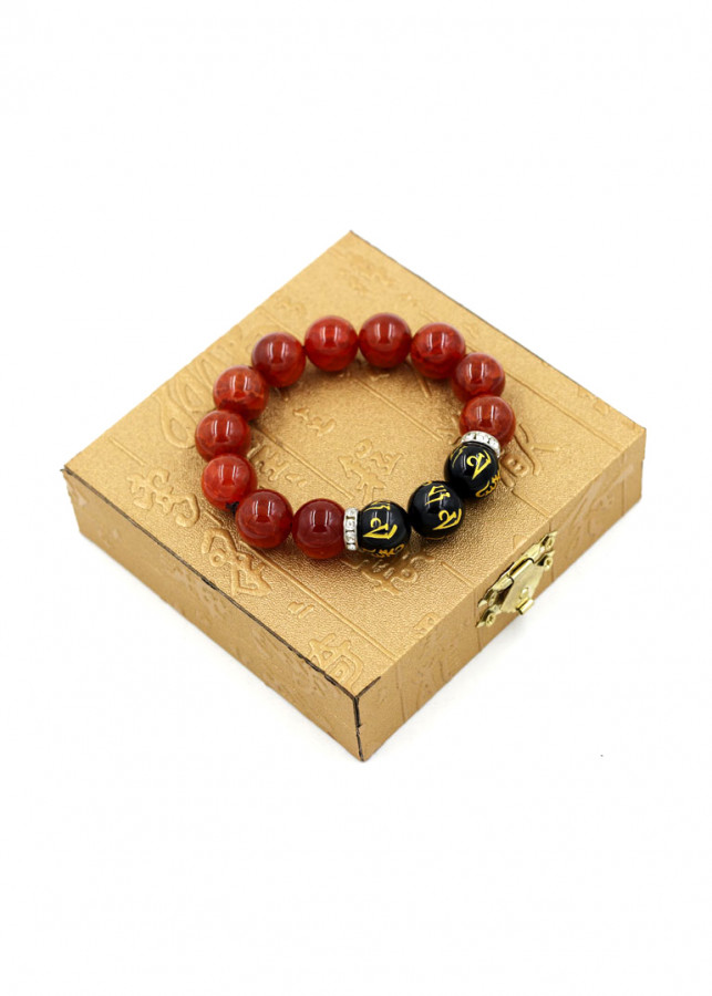 Vòng chuỗi đá vân rồng đỏ 14 ly MSA114 kèm hộp gỗ
