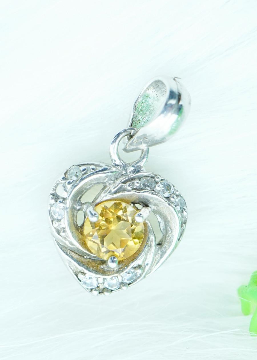 Mặt dây chuyền đá citrine thạch anh vàng tự nhiên kiểu tim