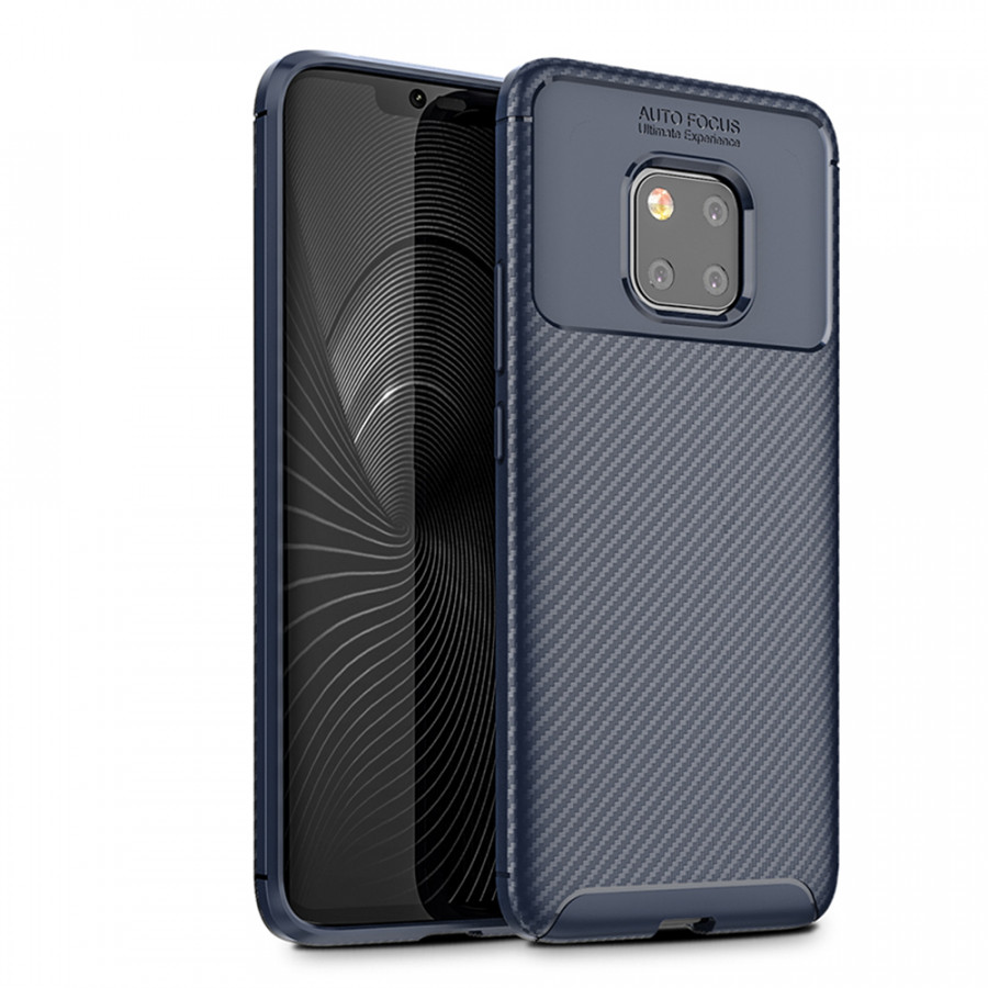 Phone Case Carbon Fiber TPU Phone Protection Cover Simple Lightweight Mobile Phone Protector for HUAWEI Mate 20 Pro - Blue