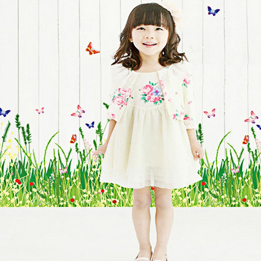 decal dán tường chân tường cỏ hoa nhỏ ay7151
