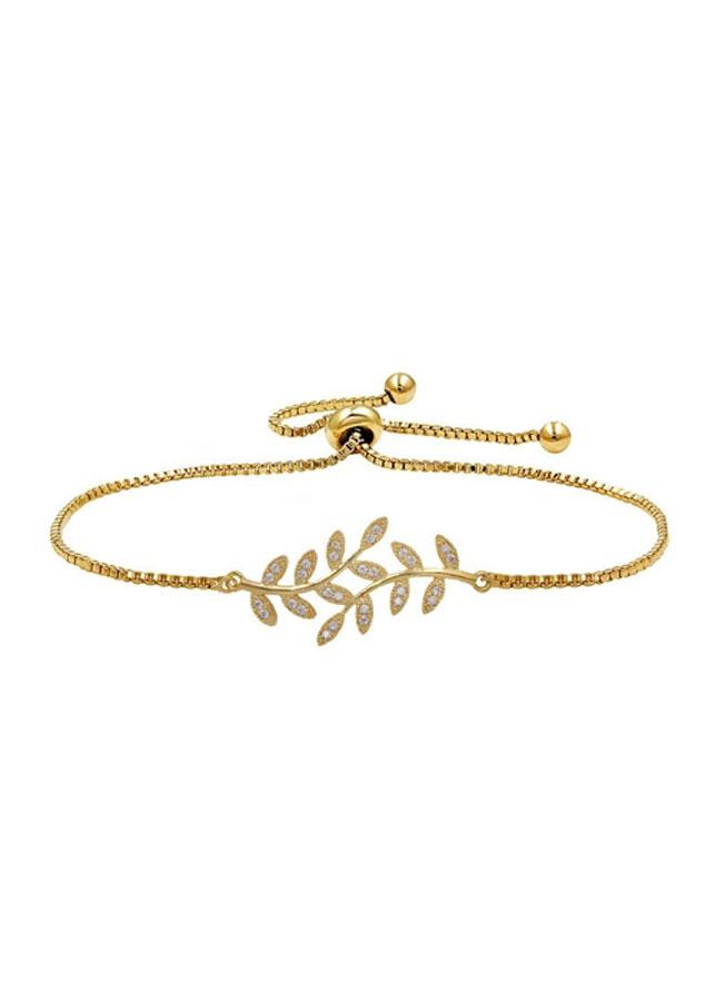 Vòng Tay Nữ Leaf Shape Cz Sala - Vàng